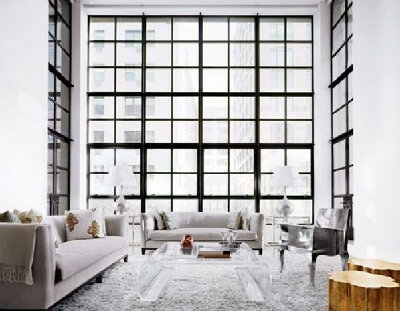 contrasting windows against white walls